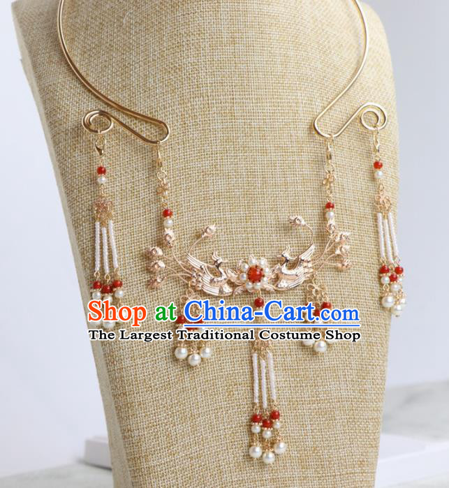Chinese Traditional Hanfu Phoenix Tassel Necklace Handmade Ancient Princess Necklet Accessories for Women