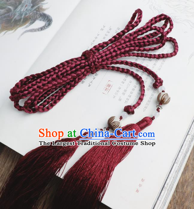 Chinese Traditional Ming Dynasty Wine Red Waist Pendant Handmade Ancient Princess Belt Tassel Accessories for Women