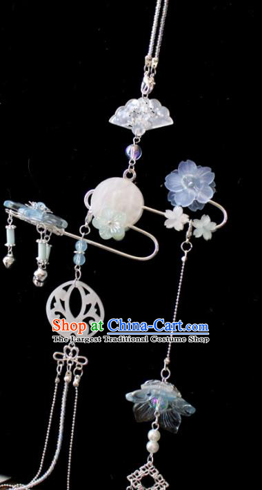 Chinese Traditional Ming Dynasty Shell Waist Pendant Handmade Ancient Swordsman Belt Tassel Accessories