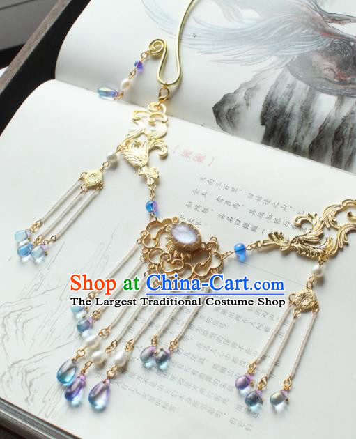 Chinese Traditional Hanfu Golden Cloud Necklace Handmade Ancient Princess Necklet Accessories for Women