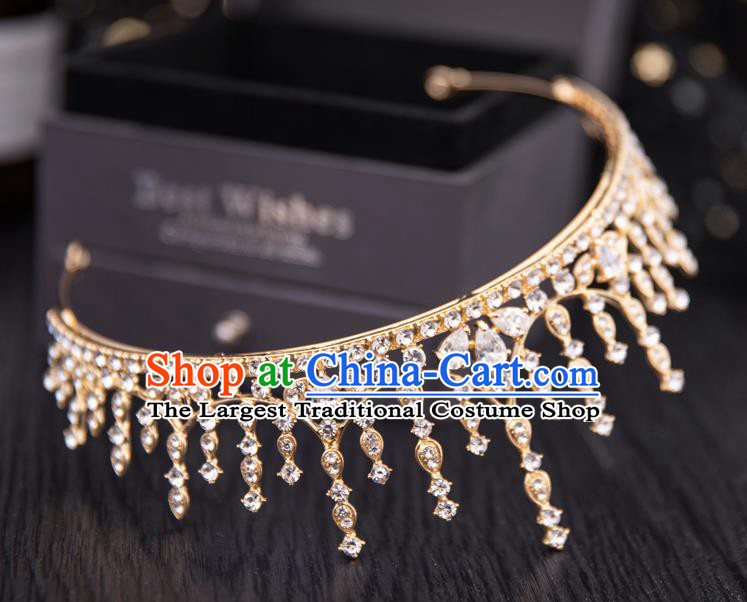 Top Handmade Wedding Bride Crystal Golden Royal Crown Baroque Princess Hair Accessories for Women