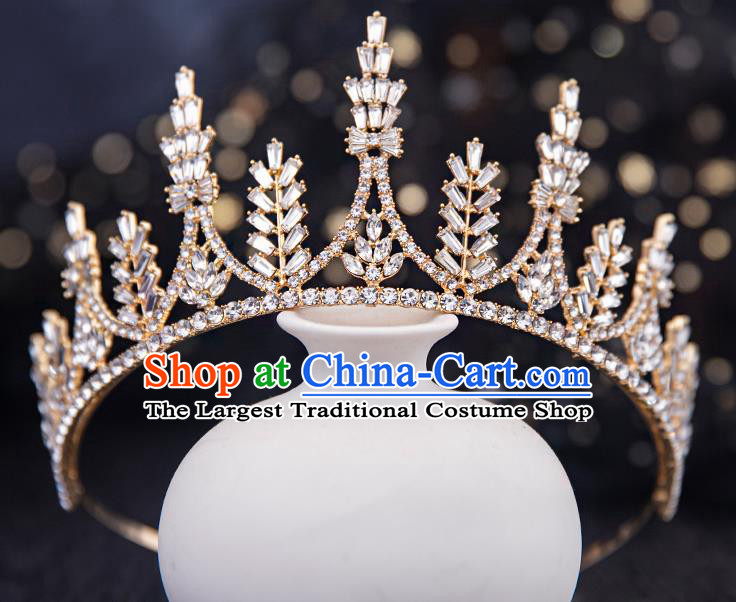 Top Handmade Wedding Bride Crystal Beads Royal Crown Baroque Princess Hair Accessories for Women