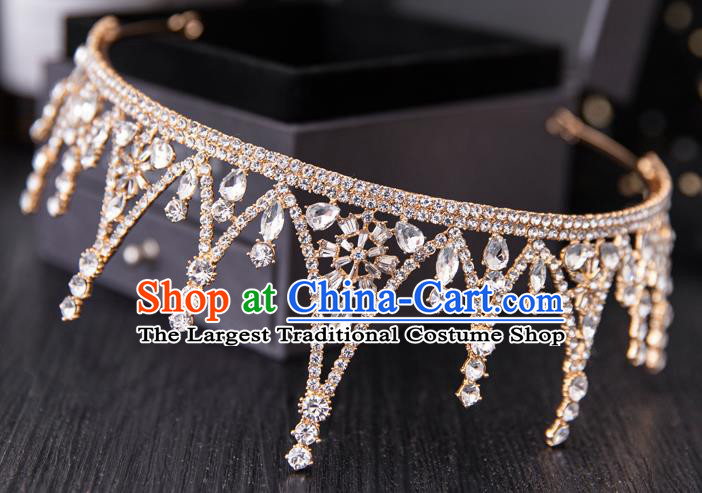 Top Handmade Wedding Bride Golden Crystal Royal Crown Baroque Princess Hair Accessories for Women