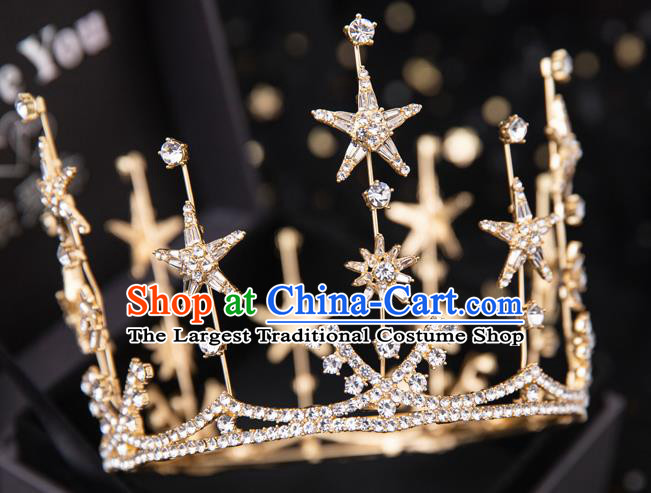 Top Handmade Wedding Bride Crystal Star Round Golden Royal Crown Baroque Princess Hair Accessories for Women