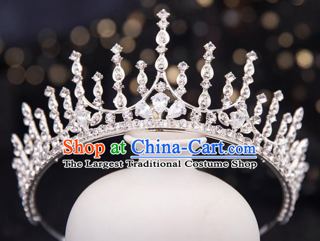 Top Handmade Wedding Bride Crystal Royal Crown Baroque Princess Hair Accessories for Women