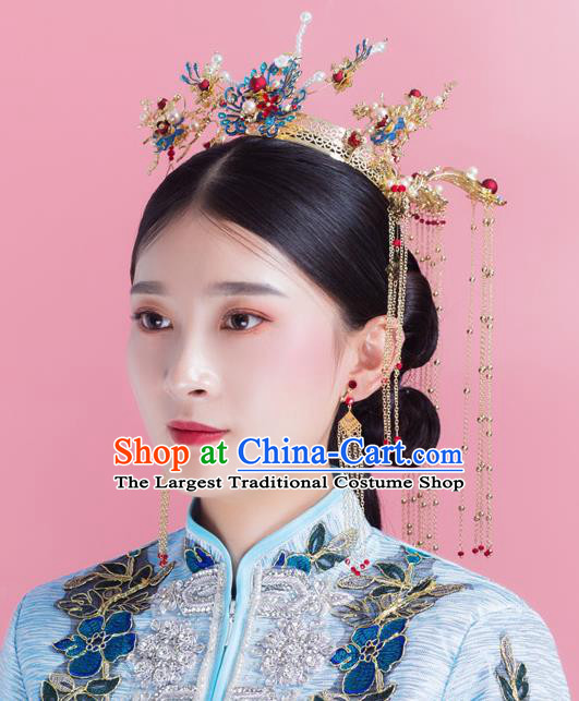 Traditional Chinese Wedding Luxury Cloisonne Phoenix Coronet Hairpins Handmade Ancient Bride Hair Accessories for Women