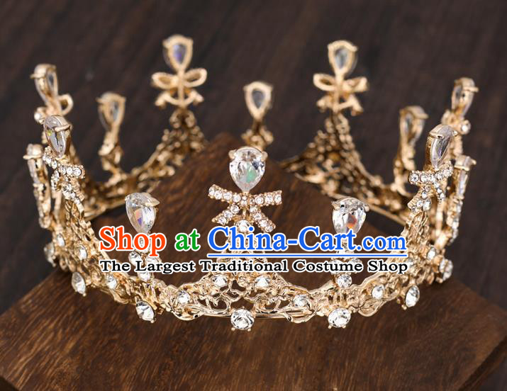 Top Handmade Wedding Bride Crystal Bowknot Golden Royal Crown Baroque Princess Hair Accessories for Women