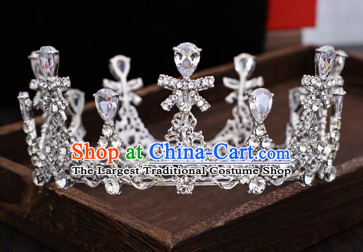 Top Handmade Wedding Bride Crystal Bowknot Royal Crown Baroque Princess Hair Accessories for Women