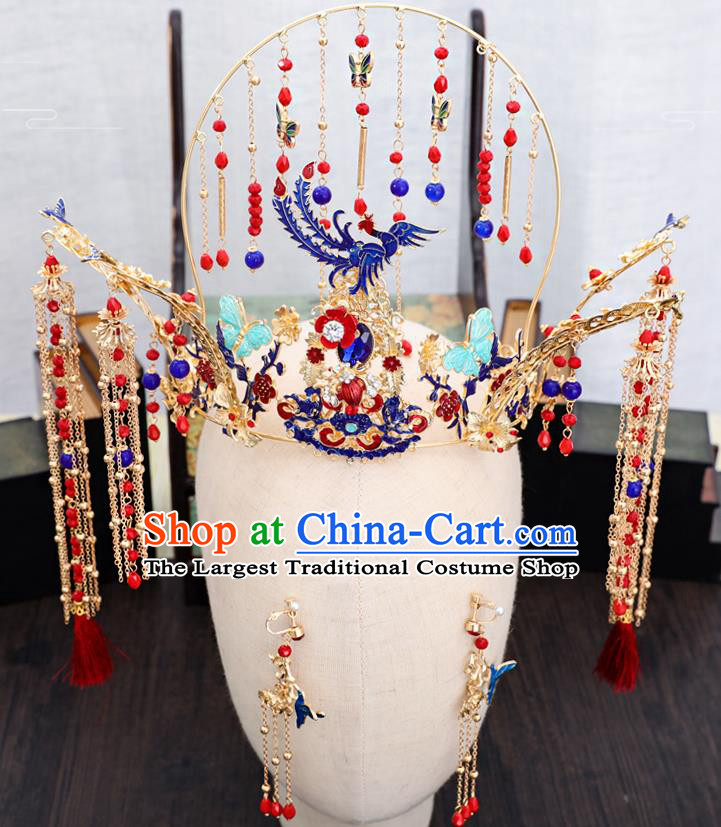 Traditional Chinese Wedding Cloisonne Phoenix Coronet Hairpins Handmade Ancient Bride Hair Accessories for Women