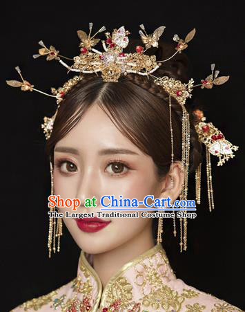 Traditional Chinese Wedding Crystal Butterfly Hair Comb Tassel Hairpins Handmade Ancient Bride Hair Accessories for Women