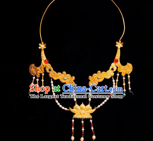 Chinese Traditional Tang Dynasty Golden Necklace Handmade Ancient Princess Pearls Necklet Accessories for Women