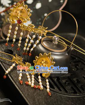 Chinese Traditional Tang Dynasty Court Tassel Golden Hairpins Handmade Ancient Royal Empress Hair Accessories for Women