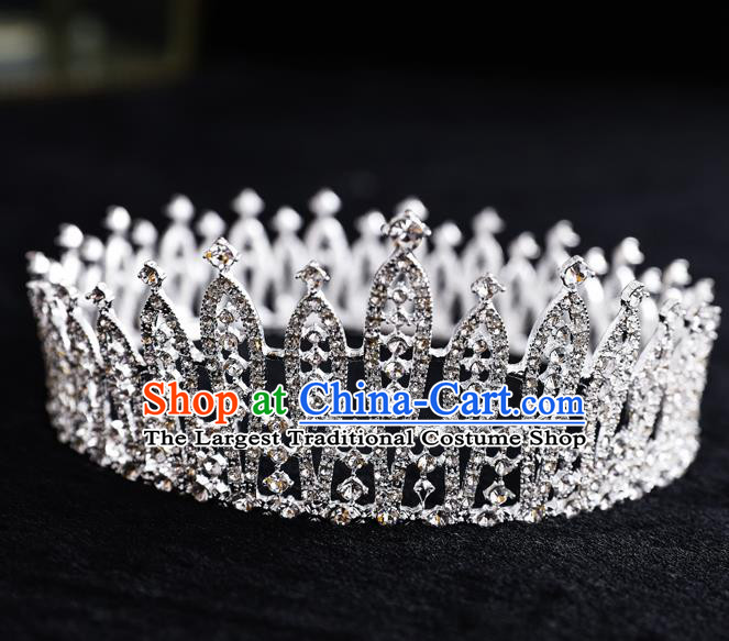 Top Handmade Wedding Bride Crystal Round Royal Crown Baroque Princess Hair Accessories for Women