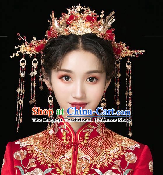 Traditional Handmade Chinese Wedding Red Venonat Phoenix Hair Crown Hairpins Ancient Bride Hair Accessories for Women