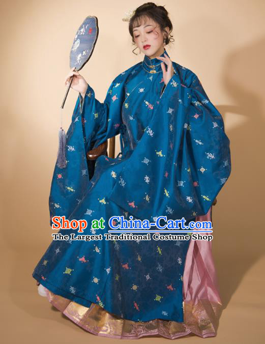 Traditional Chinese Ming Dynasty Blue Blouse and Pink Skirt Ancient Royal Infanta Historical Costumes for Women