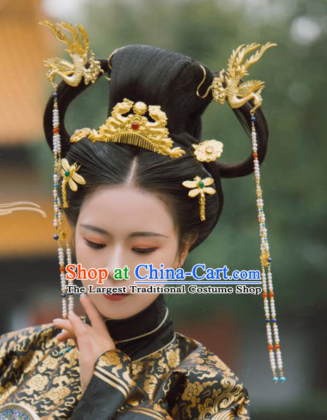 Traditional Chinese Tang Dynasty Princess Hair Comb Phoenix Hairpins Handmade Ancient Queen Hair Accessories for Women