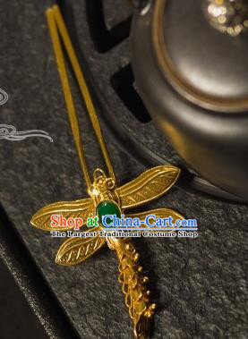 Chinese Traditional Tang Dynasty Court Jade Dragonfly Hairpins Handmade Ancient Royal Empress Hair Accessories for Women
