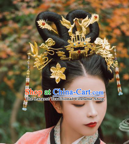 Traditional Chinese Tang Dynasty Princess Crane Hair Comb Hairpins Handmade Ancient Queen Hair Accessories for Women