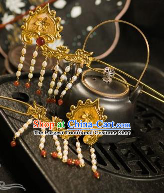 Chinese Traditional Tang Dynasty Court Pearls Tassel Hairpins Handmade Ancient Royal Empress Hair Accessories for Women