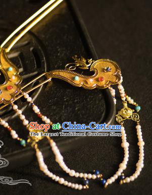 Chinese Traditional Tang Dynasty Tassel Hairpins Handmade Ancient Royal Empress Hair Accessories for Women