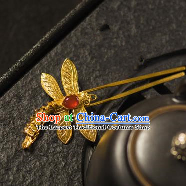 Chinese Traditional Tang Dynasty Agate Dragonfly Hairpins Handmade Ancient Royal Empress Hair Accessories for Women
