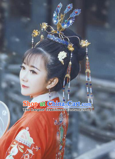 Traditional Chinese Ming Dynasty Princess Cloisonne Phoenix Coronet Hairpins Handmade Ancient Queen Hair Accessories for Women