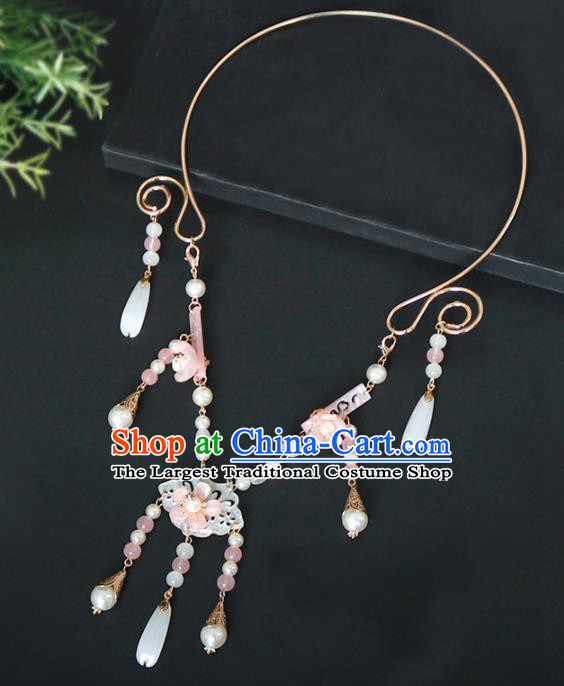 Chinese Traditional Handmade Hanfu Shell Necklace Ancient Princess Necklet Accessories for Women