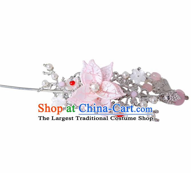 Traditional Chinese Hanfu Pink Peach Blossom Hair Crown Hairpin Handmade Ancient Princess Hair Accessories for Women