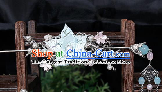 Traditional Chinese Hanfu Blue Peach Blossom Hair Crown Hairpin Handmade Ancient Princess Hair Accessories for Women