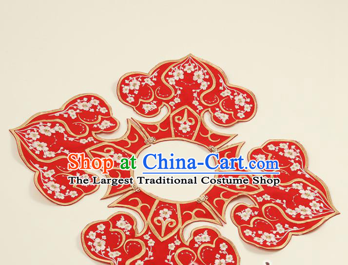 Traditional Chinese Hanfu Embroidered Red Cloud Shoulder Handmade Ancient Princess Cape Accessories for Women
