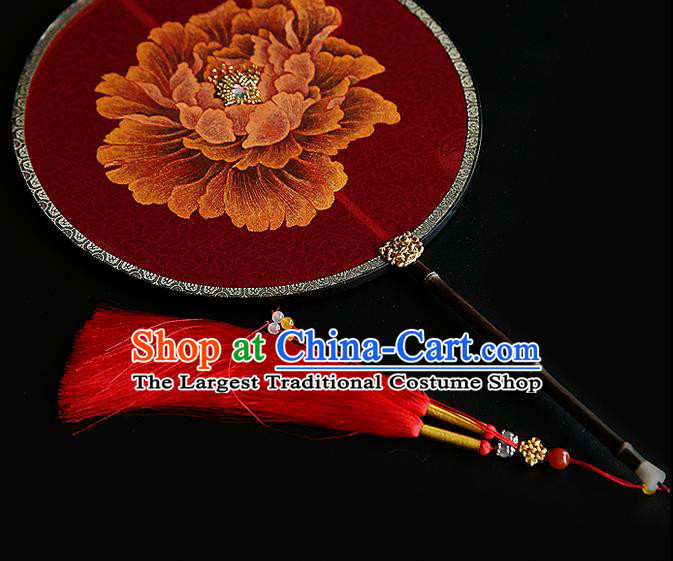 Traditional Chinese Hanfu Wedding Red Fans Handmade Ancient Princess Embroidered Peony Palace Fan for Women