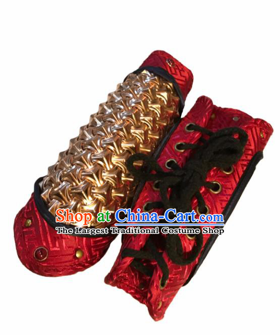 Traditional Chinese Ming Dynasty Imperial Guards Red Bracer Handmade Ancient Swordsman Wrist Guard for Men