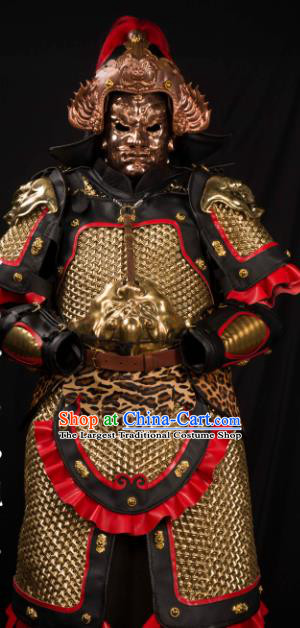 Traditional Chinese Song Dynasty General Helmet and Armour Ancient Soldier Costume for Men