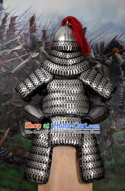 Traditional Chinese Song Dynasty General Grey Body Armour Ancient Soldier Costume for Men