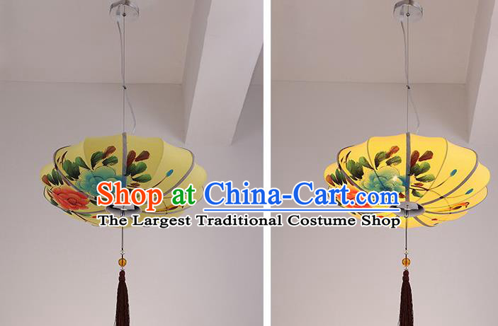 Chinese Traditional Printing Flowers Yellow Hanging Lantern Handmade New Year Lamp Cloth Palace Lanterns