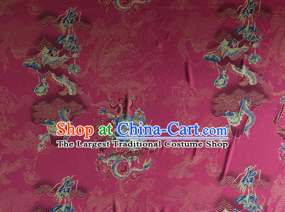Chinese Traditional Phoenix Pattern Wine Red Silk Fabric Mulberry Silk Fabric Hanfu Dress Material
