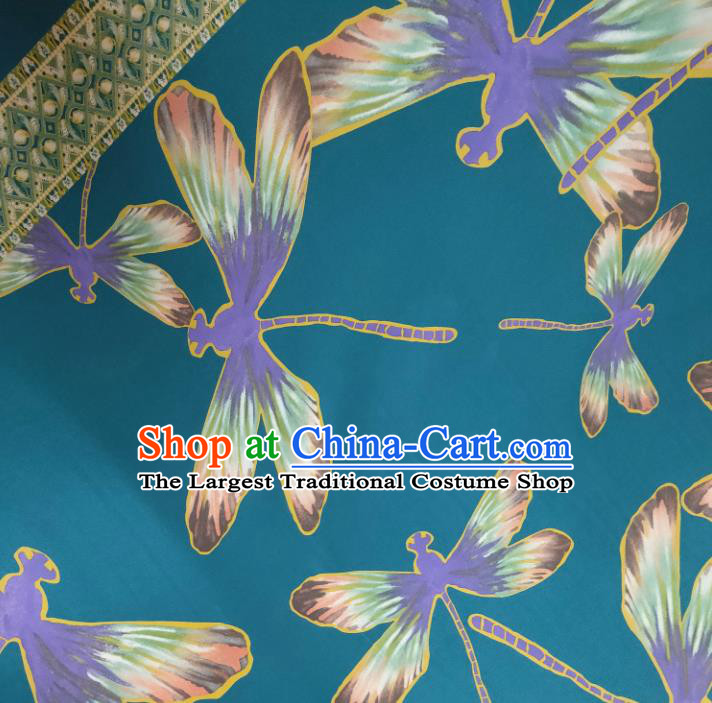 Chinese Traditional Dragonfly Pattern Blue Silk Fabric Mulberry Silk Fabric Hanfu Dress Material