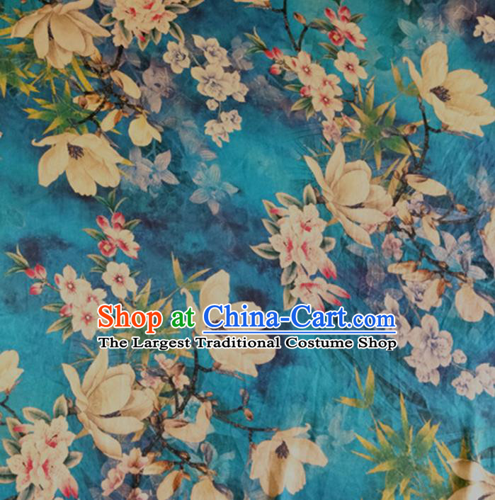 Chinese Traditional Yulan Magnolia Pattern Blue Silk Fabric Mulberry Silk Fabric Hanfu Dress Material