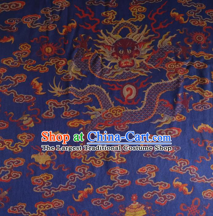 Chinese Traditional Cloud Dragon Pattern Blue Silk Fabric Mulberry Silk Fabric Hanfu Dress Material