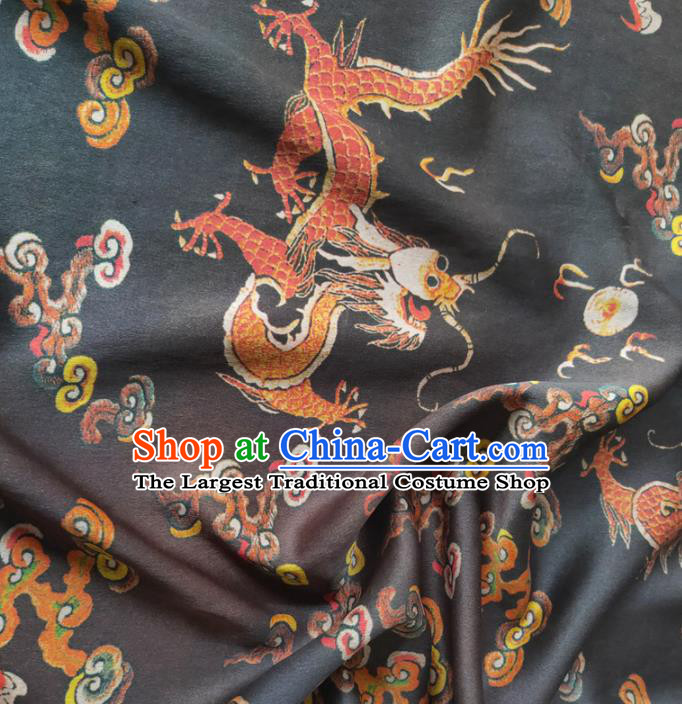 Chinese Traditional Cloud Dragon Pattern Black Silk Fabric Mulberry Silk Fabric Hanfu Dress Material