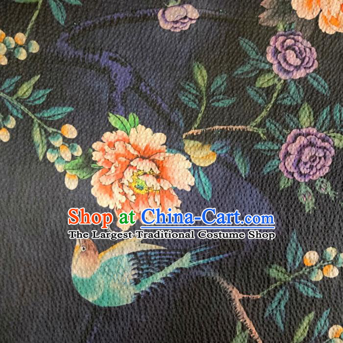 Chinese Traditional Peony Bird Pattern Navy Silk Fabric Mulberry Silk Fabric Hanfu Dress Material