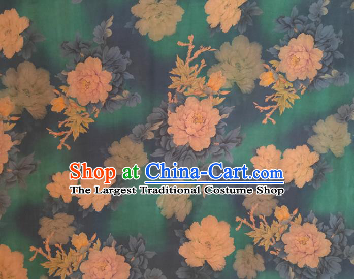 Chinese Traditional Peony Pattern Green Silk Fabric Mulberry Silk Fabric Hanfu Dress Material