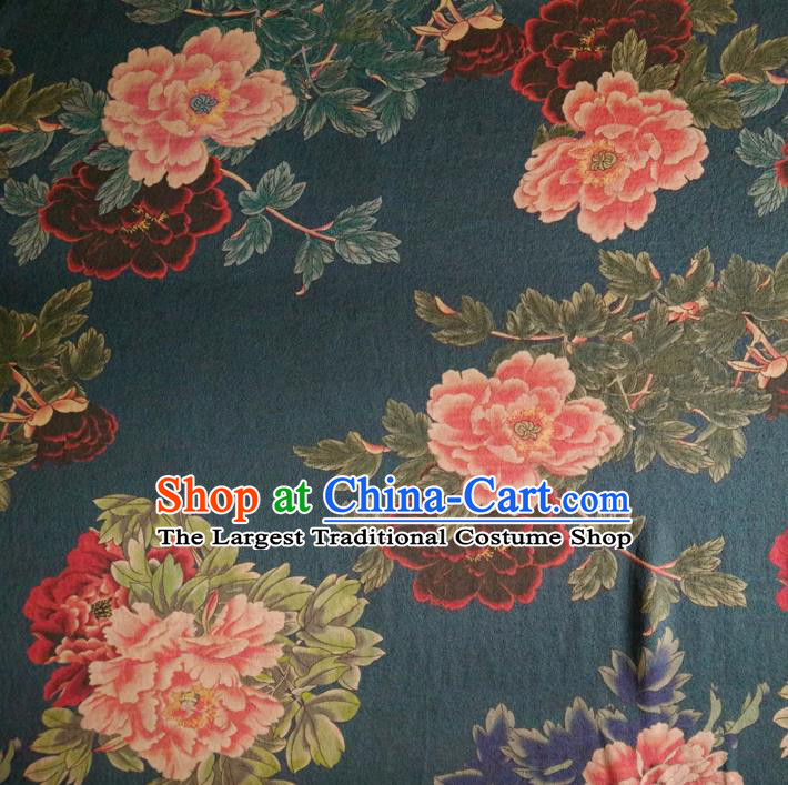 Chinese Traditional Peony Pattern Deep Blue Silk Fabric Mulberry Silk Fabric Hanfu Dress Material
