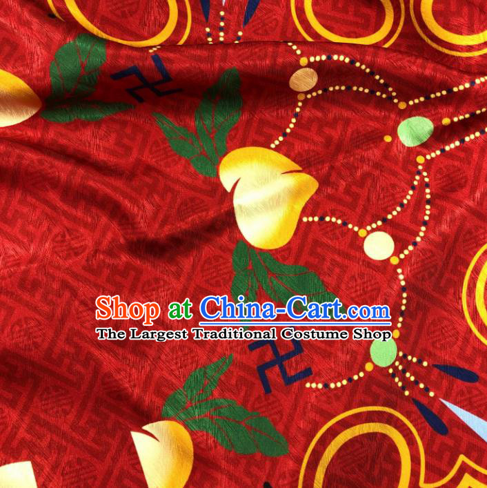 Chinese Traditional Peach Pattern Red Brocade Hanfu Fabric Silk Fabric Hanfu Dress Material
