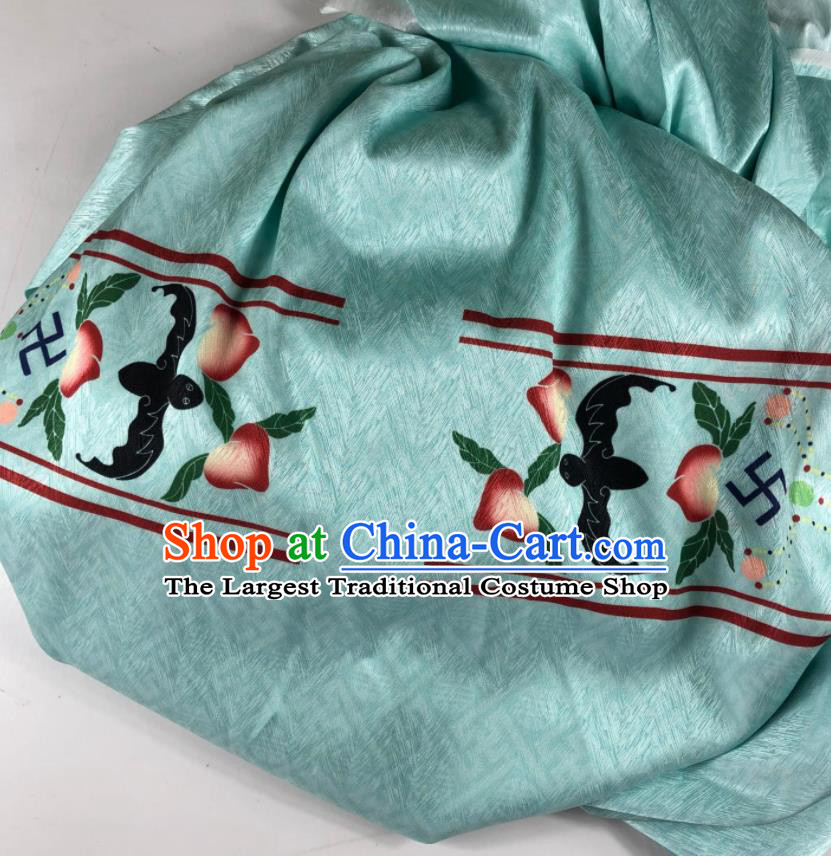 Chinese Traditional Peach Pattern Green Brocade Hanfu Fabric Silk Fabric Hanfu Dress Material
