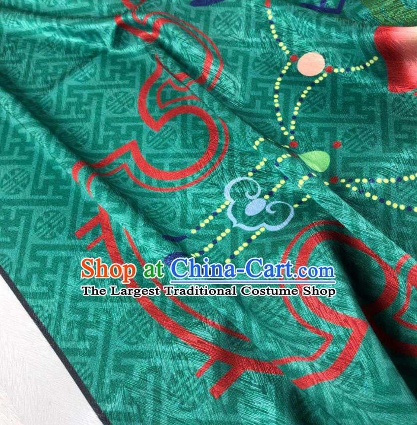 Chinese Traditional Peach Pattern Deep Green Brocade Hanfu Fabric Silk Fabric Hanfu Dress Material