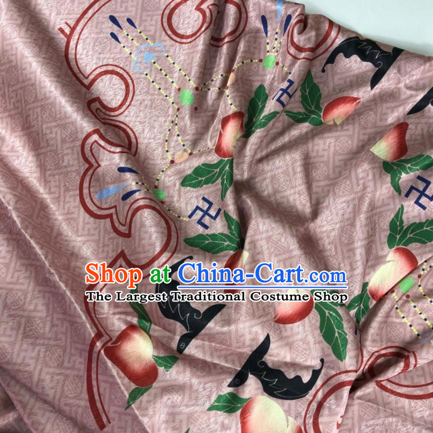 Chinese Traditional Peach Pattern Cameo Brown Brocade Hanfu Fabric Silk Fabric Hanfu Dress Material