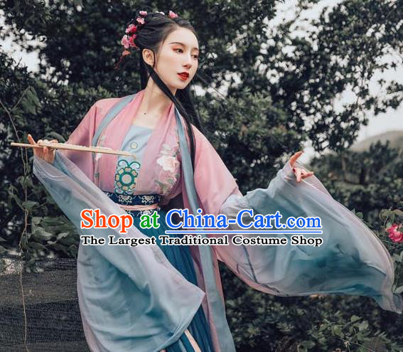 Chinese Ancient Royal Princess Embroidered Dress Traditional Tang Dynasty Imperial Consort Costume for Women