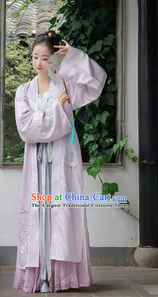 Chinese Ancient Court Infanta Embroidered Lilac Dress Traditional Song Dynasty Patrician Lady Costume for Women