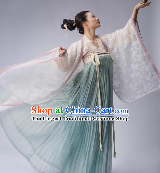 Chinese Ancient Tang Dynasty Court Lady Embroidered Dress Traditional Royal Princess Costume for Women